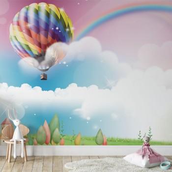 پوستر دیواری کودک بالن رنگین کمان مدل BKW037-1