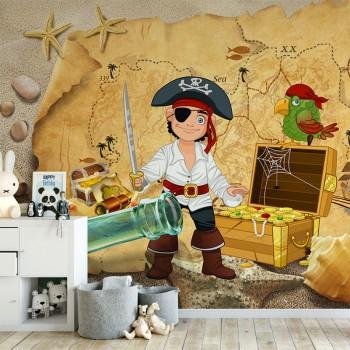 پوستر دیواری کودک دزد دریایی و گنج کمیاب مدل BKW096-1