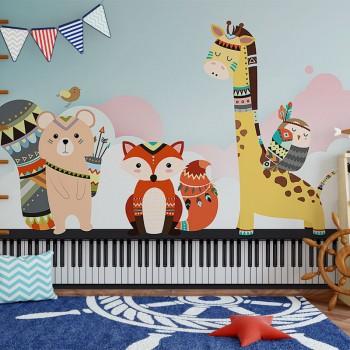 پوستر دیواری کودک پیانوی حیوانات مدل BKW136-1