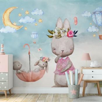 پوستر دیواری کودک خرگوش های بازیگوش مدل BKW177-1