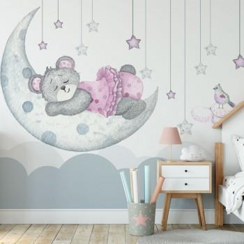 پوستر دیواری کودک خرس خواب آلود مدل BKW045-1