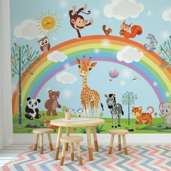 پوستر دیواری کودک سرزمین رنگین کمان مدل BKW047-1