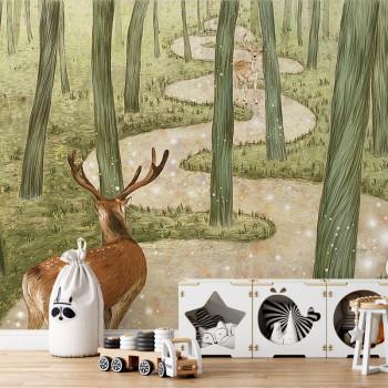 پوستر دیواری کودک آهو های عاشق مدل BKW164-1