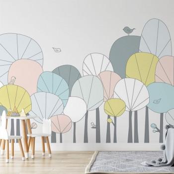 پوستر دیواری کودک درختان شاد مدل BKW061-1