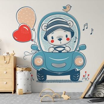 پوستر دیواری کودک ماشین خرس کوچولو مدل BKW167-1