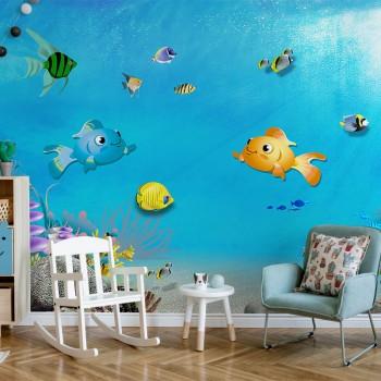 پوستر دیواری کودک ماهی های مهربان مدل BKW139-1
