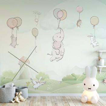 پوستر دیواری کودک بازی با بادکنک ها مدل BKW092-1