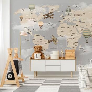 پوستر دیواری کودک نقشه جهان با هواپیما و بالون ها مدل BKW077-1