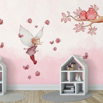 پوستر دیواری کودک دختر های پروانه ای مدل BKW074-1