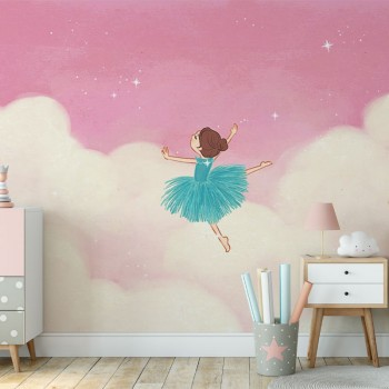 پوستر دیواری کودک رقص میان ابرها مدل BKW075-1