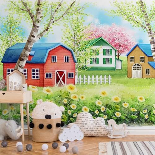 پوستر دیواری کودک کلبه های زیبا مدل BKW137-1