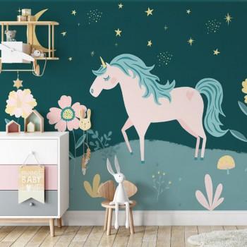 پوستر دیواری کودک اسب تک شاخ مدل BKW183-1