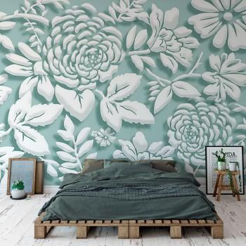 پوستر دیواری گل سفید و آبی مدل BCW048-1