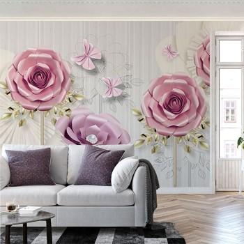 پوستر دیواری گل صورتی و بنفش(1)