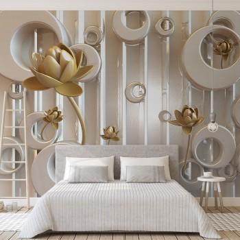 پوستر سه بعدی گل های طلایی مدرن مدل BCW061-1