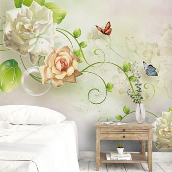 پوستر سه بعدی گل رز سفید مدل BCW145-1