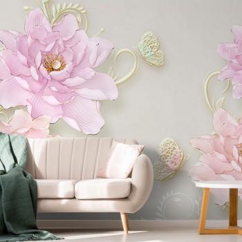 پوستر سه بعدی گل های صورتی مدل BCW108-1