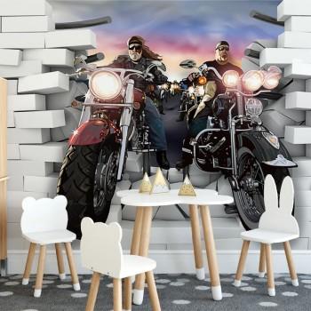 پوستر دیواری کودک موتور سواران حرفه ای مدل BKW203-1