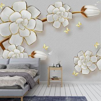 پوستر سه بعدی شکوفه های سفید مدل BCW073-1