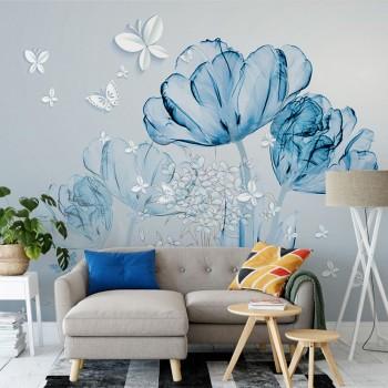 پوستر سه بعدی گل های شیشه ای آبی مدل BCW284-1