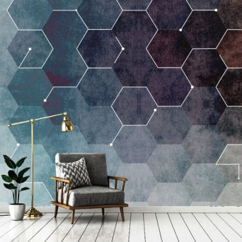 پوستر دیواری شش ضلعی های رنگی مدل BCW349-1