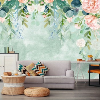پوستر دیواری باغ گل های آبرنگی مدل BCW332-1