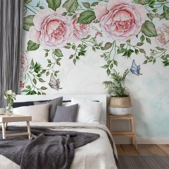 پوستر دیواری طاق گل های صورتی مدل BCW400-1