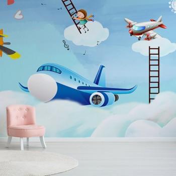 پوستر دیواری کودک هواپیما فانتزی مدل BKW004-1