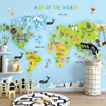پوستر دیواری کودک نقشه جهان مدل BKW005-1