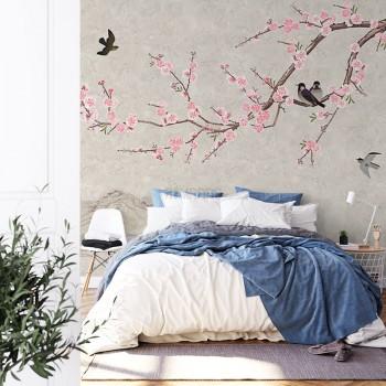 پوستر دیواری شکوفه های صورتی مدل BCW468-1