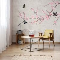 پوستر دیواری شکوفه های صورتی مدل BCW468-3