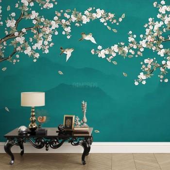 پوستر دیواری شکوفه های سپید مدل BCW443-1