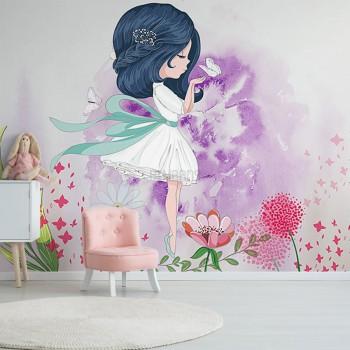 پوستر دیواری کودک دخترک و پروانه مدل BKW222-1