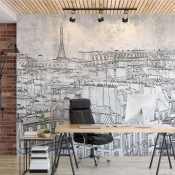 پوستر دیواری پاریس سیاه قلم مدل BCW554-1