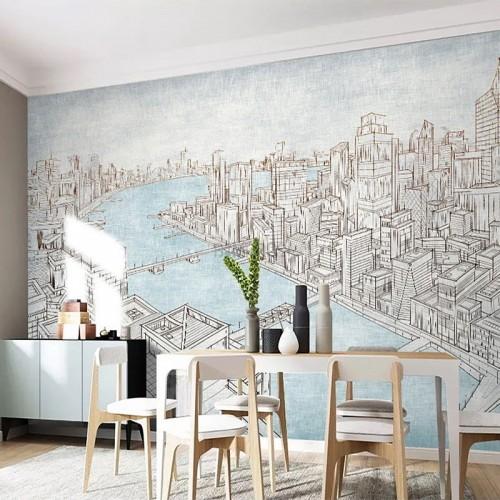پوستر دیواری شهری بر کرانه آب ها مدل BCW553-1