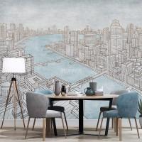 پوستر دیواری شهری بر کرانه آب ها مدل BCW553-3