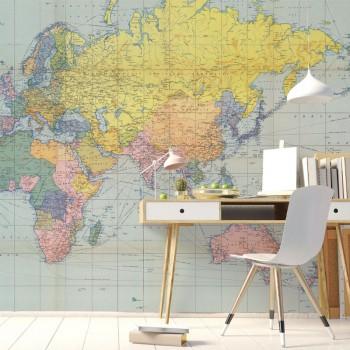 پوستر دیواری نقشه جغرافیایی جهان مدل BCW605-1