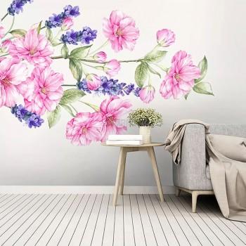 پوستر دیواری گل های صورتی و بنفش مدل BCW558-1