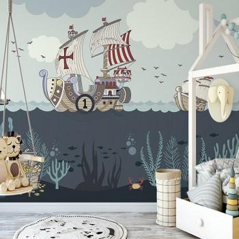 پوستر دیواری کودک بر فراز دریا مدل BKW026-1