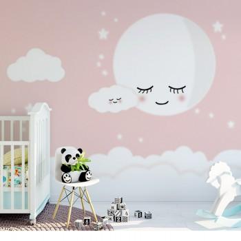 پوستر دیواری کودک ماه خواب آلود مدل BKW033-2-1