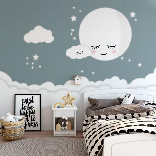 پوستر دیواری کودک ماه خواب آلود مدل BKW033-1-1