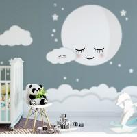 پوستر دیواری کودک ماه خواب آلود مدل BKW033-1-3