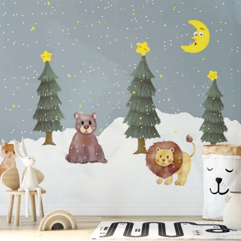 پوستر دیواری کودک شب برفی مدل BKW030-1