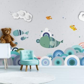 پوستر دیواری کودک پرواز ماهی ها مدل BKW014-1