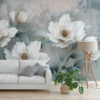 پوستر سه بعدی گل های سفید مدل BCW008-1