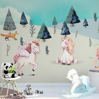 پوستر دیواری کودک اسب های تک شاخ بازیگوش مدل BKW025-1