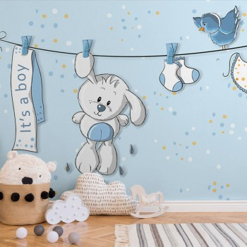 پوستر دیواری کودک خرگوش کوچولو مدل BKW042-1