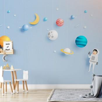 پوستر دیواری کودک آدم فضایی و سیارات مدل BKW048-1