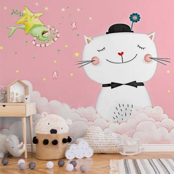 پوستر دیواری کودک گربهی شاد مدل BKW013-1