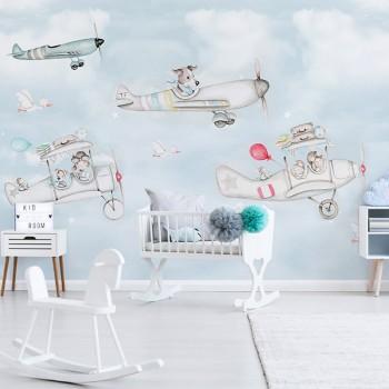 پوستر دیواری کودک هواپیماهای کوچولو مدل BKW024-1